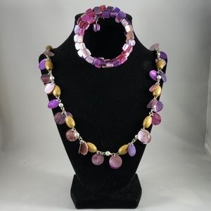 Multi Color Necklace and Stretch Bracelet
